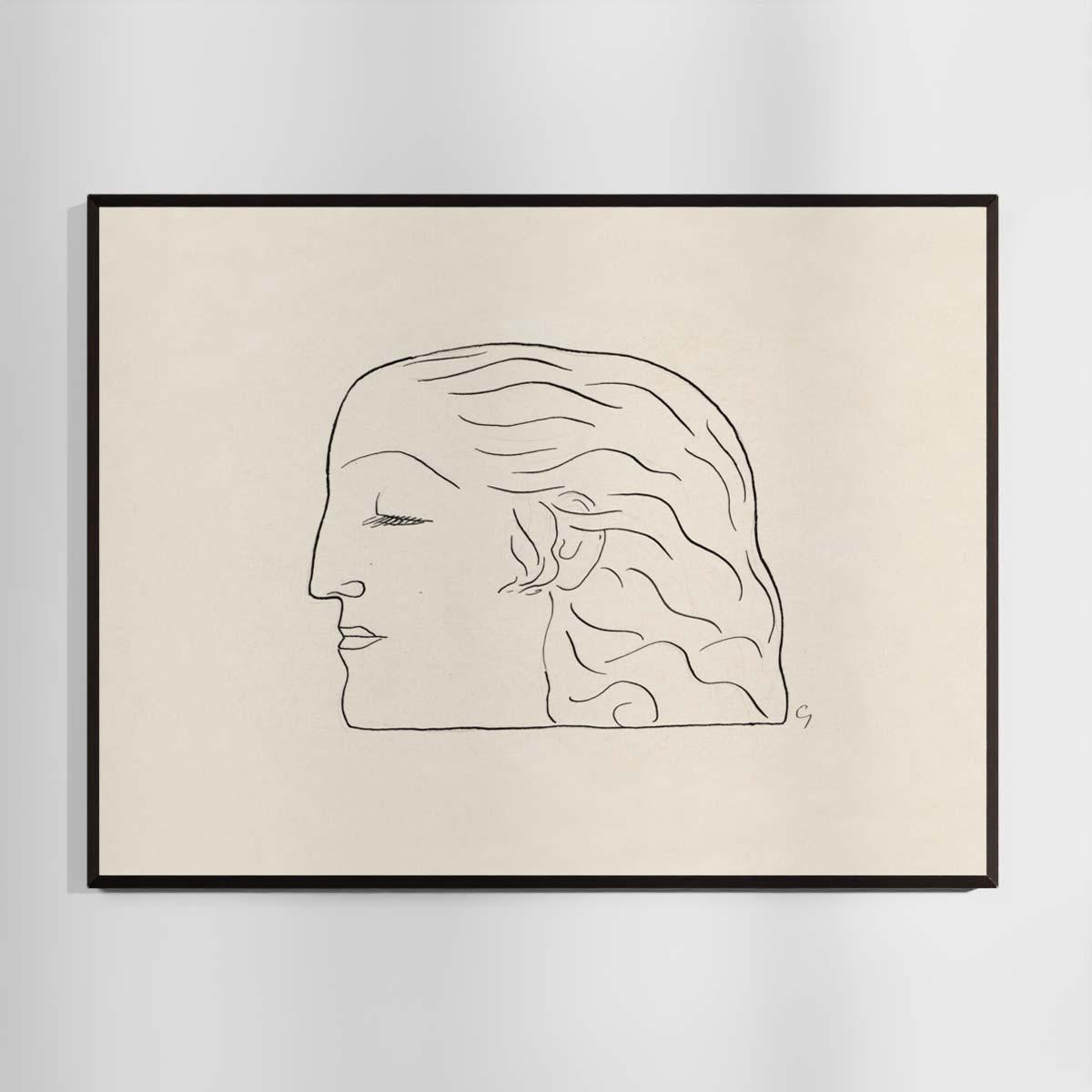 Plakat - Stregtegning - Kvindehoved af Leo Gestel