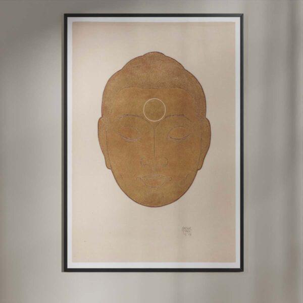 Plakat - Buddha-hoved på lys baggrund - Reijer Stolk træsnit plakat