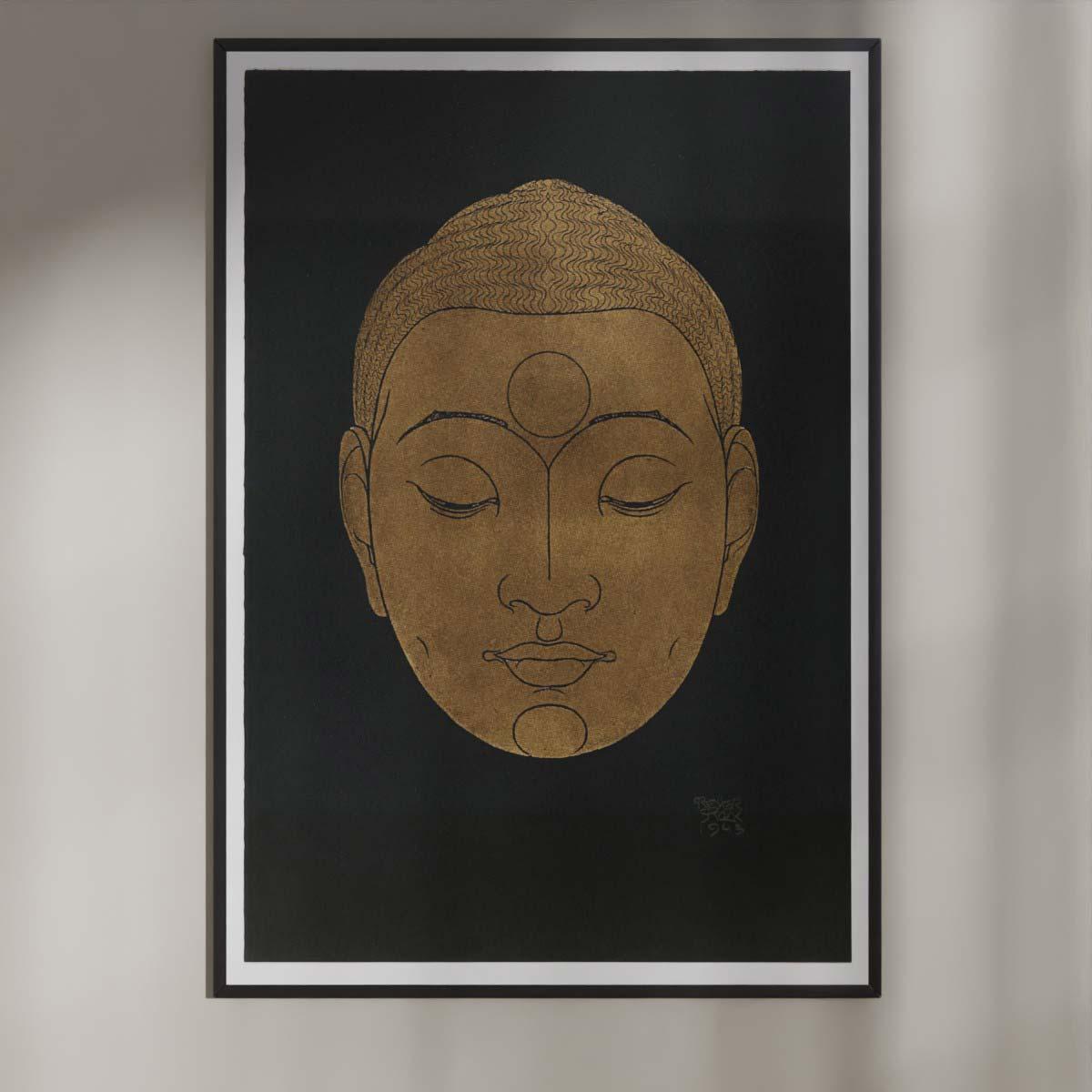 Plakat - Buddha-hoved på mørk baggrund - Reijer Stolk træsnit plakat