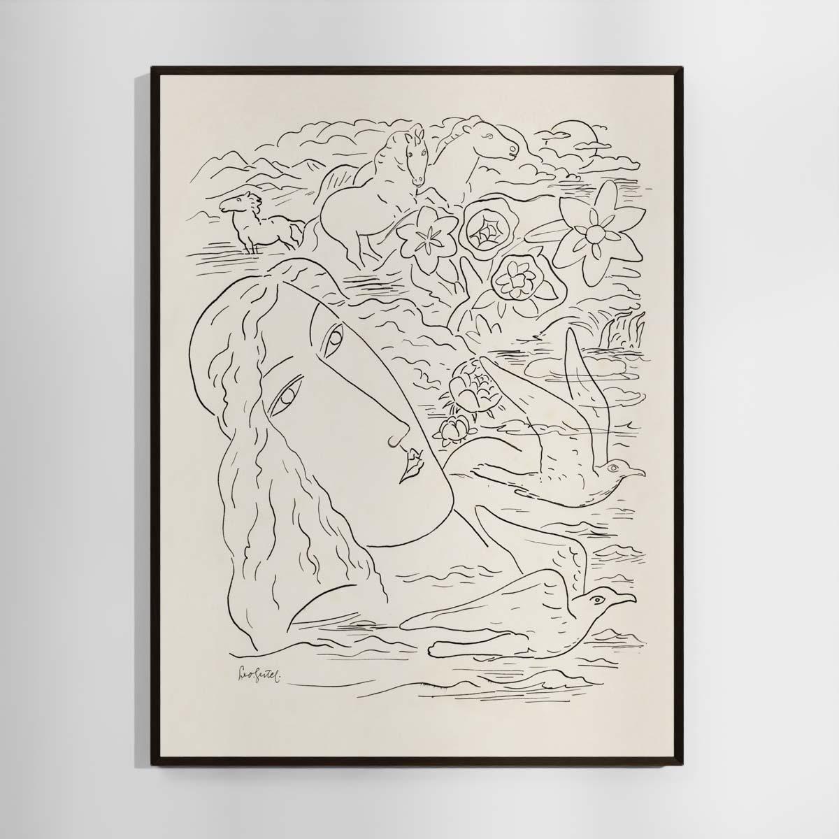 Plakat - Stregtegning - Drømmen om havet - Leo Gestel