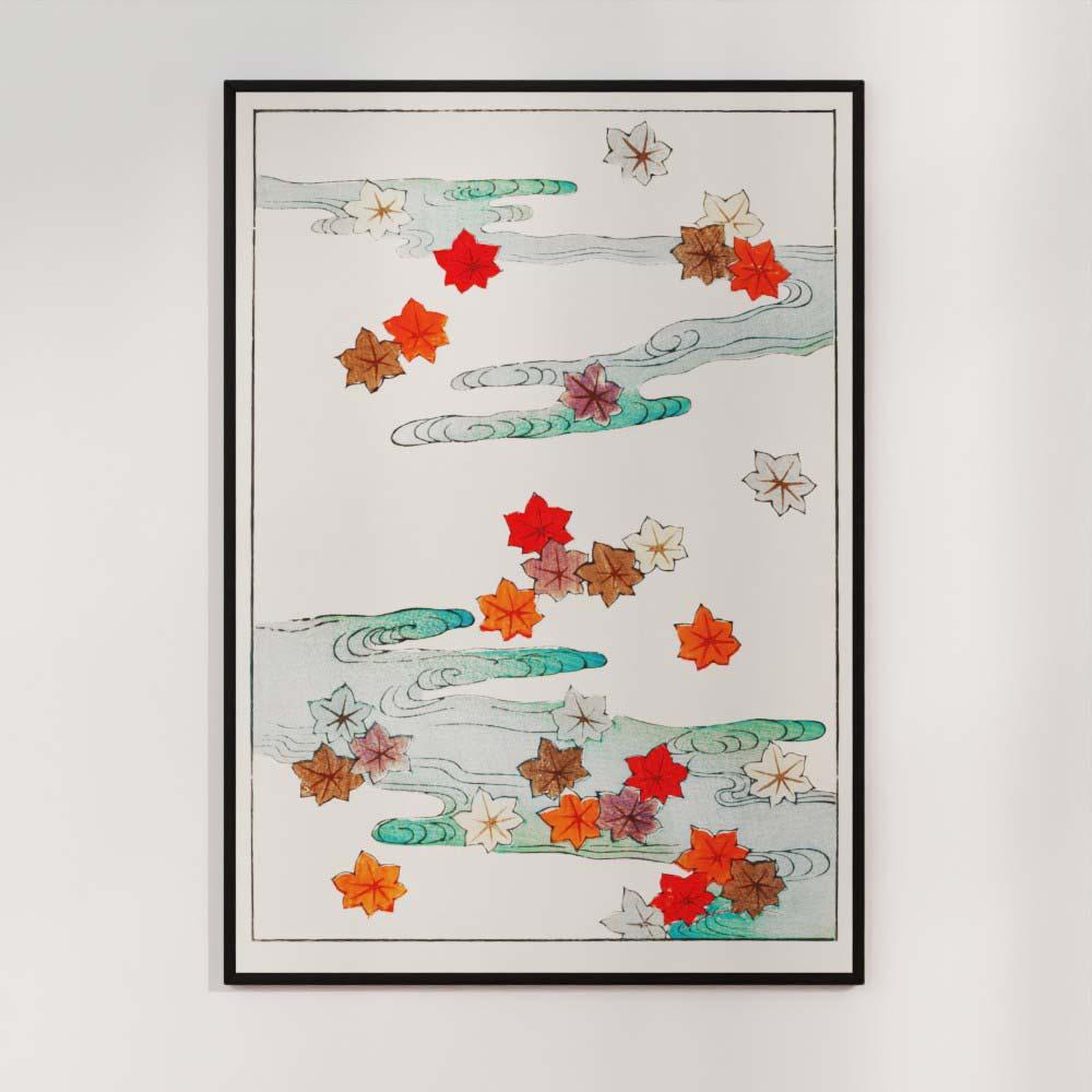 Plakat - Efterårsblade og vand - Japansk træsnit af Watanabe Seitei