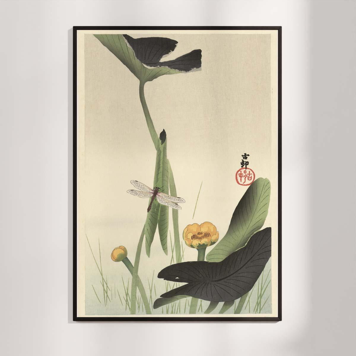 Plakat - Japansk træsnit - Guldsmed og lotus - Ohara Koson