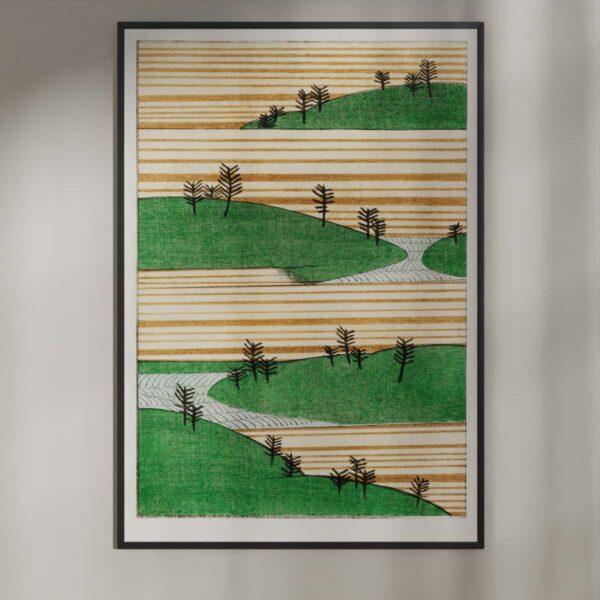 Plakat - Landskab med bakker og træer - Japansk træsnit
