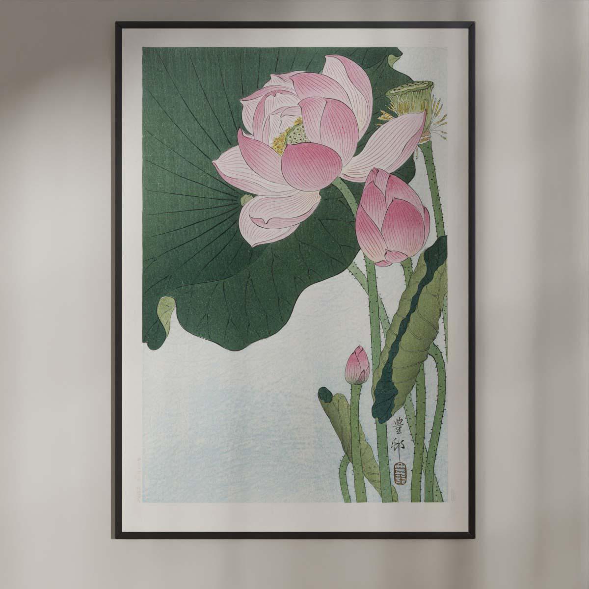 Plakat - Blomstrende Lotus - Ohara Koson Japansk Træsnit