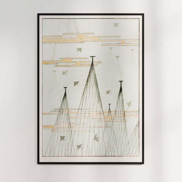Plakat - Sky-landskab med fugle - Japansk træsnit af Watanabe Seitei