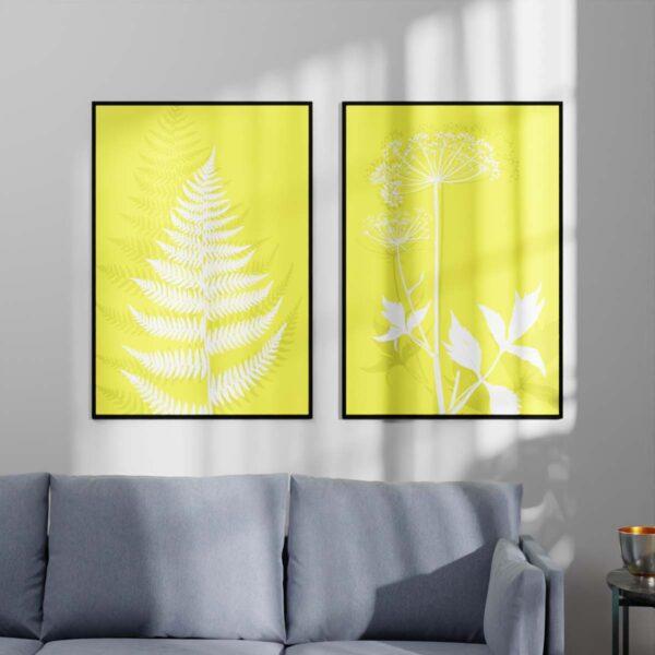 Plakater - Fjerbregne og Kvan- Illuminating Yellow 70x100cm