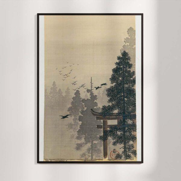 Plakat - Japansk Træsnit - Landskab med fugleflok af Ohara Koson