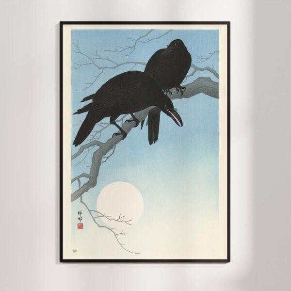 Plakat - Japans Træsnit - To krager på en gren - Ohara Koson
