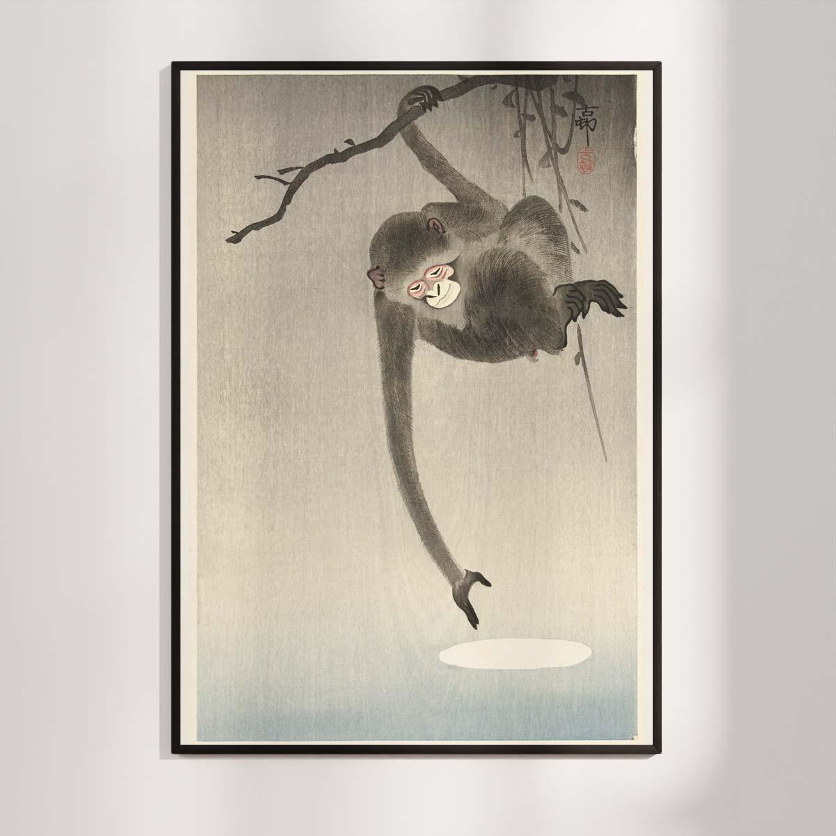Plakat - Japansk Træsnit - Aben og månen - Ohara Koson