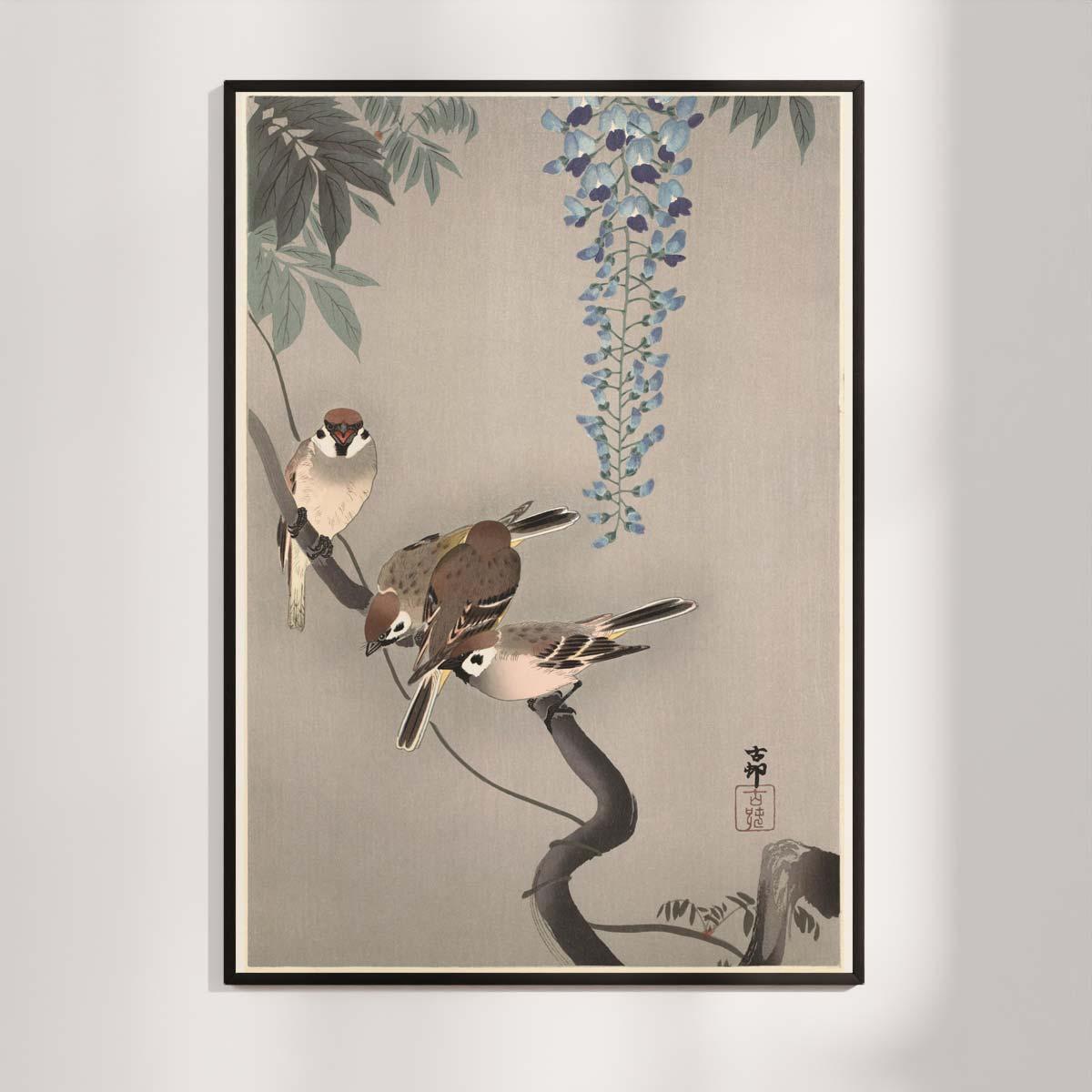 Plakat - Japansk Træsnit - Skovspurve i blåregn - Ohara Koson