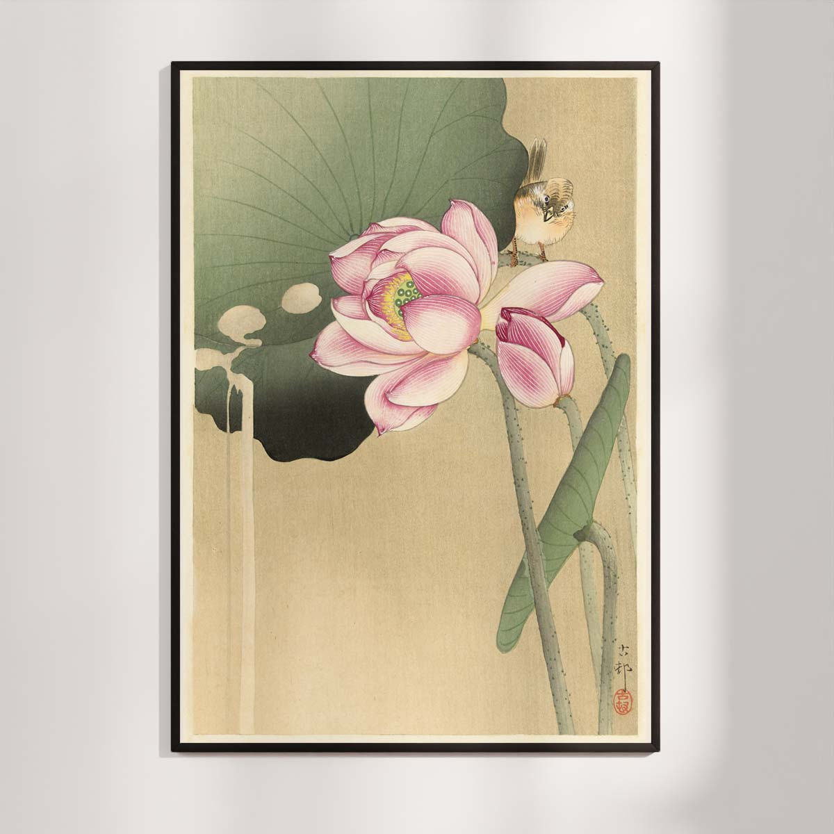 Plakat - Japansk Træsnit - Sangfugl og lotus - Ohara Koson
