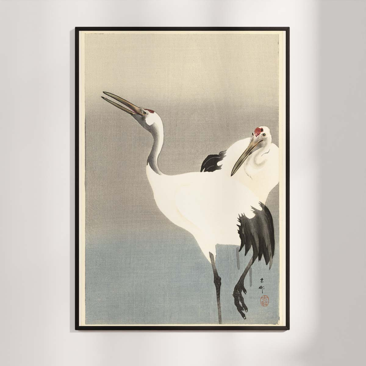 Plakat - Japansk træsnit - To traner i disen - Ohara Koson