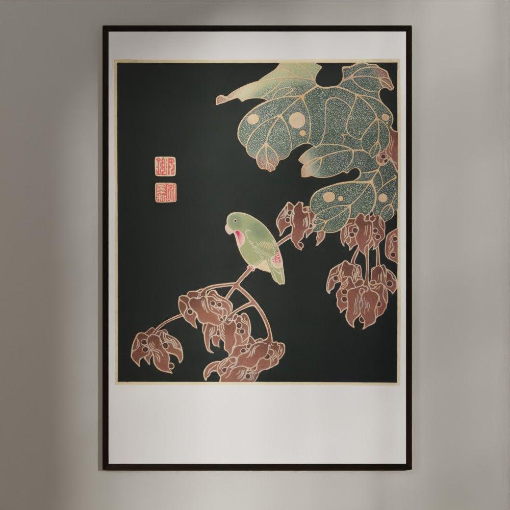 Plakat - Japansk træsnit - Parakitten