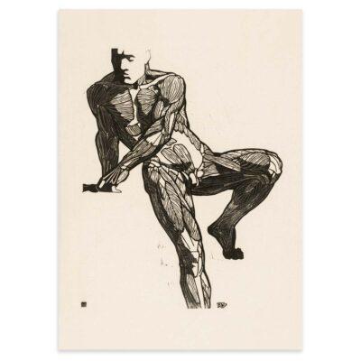 Plakat - Anatomisk træsnit - Studie af en mands bryst-, mave- og lårmuskler 50x70cm