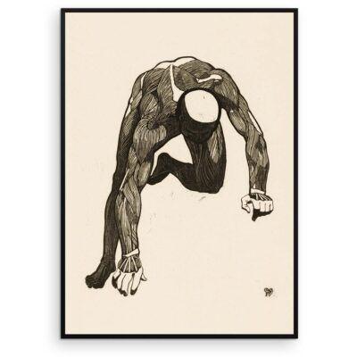Plakat - Anatomisk træsnit - Studie af en mands arm og rygmuskler - Aruhana