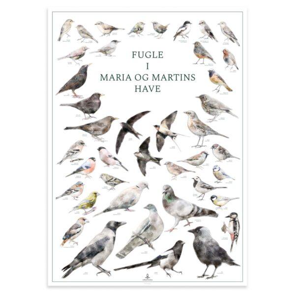 Plakat med fugle i haven og personlig tekst - Original Fugleplakat fra Aruhana