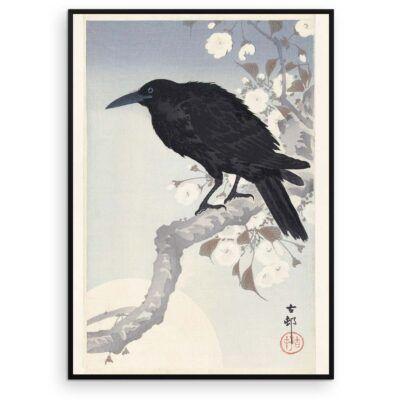 Plakat - Krage i måneskin - Japansk Træsnit - Ohara Koson - Aruhana
