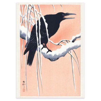 Plakat - Japansk Træsnit - Krage på en gren - Ohara Koson 50x70cm