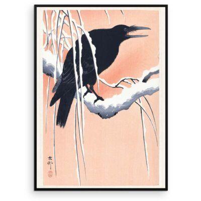 Plakat - Japansk Træsnit - Krage på en gren - Ohara Koson - Aruhana