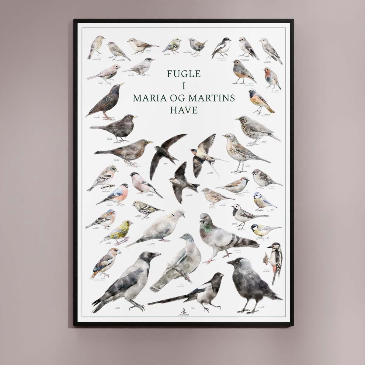 Fugle i Maria og Martins have - Moderne plakat med fugle i haven og personlig tekst - Original Fugleplakat fra Aruhana