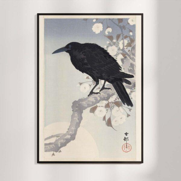 Plakat - Krage i måneskin - Japansk Træsnit - Ohara Koson