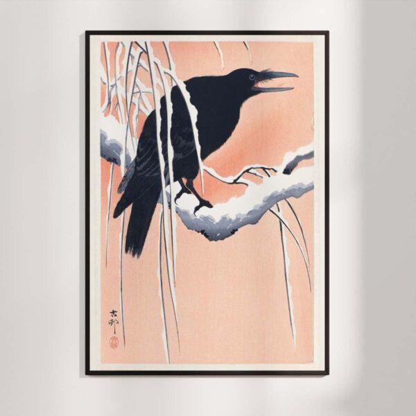 Plakat - Japansk Træsnit - Krage på en gren - Ohara Koson