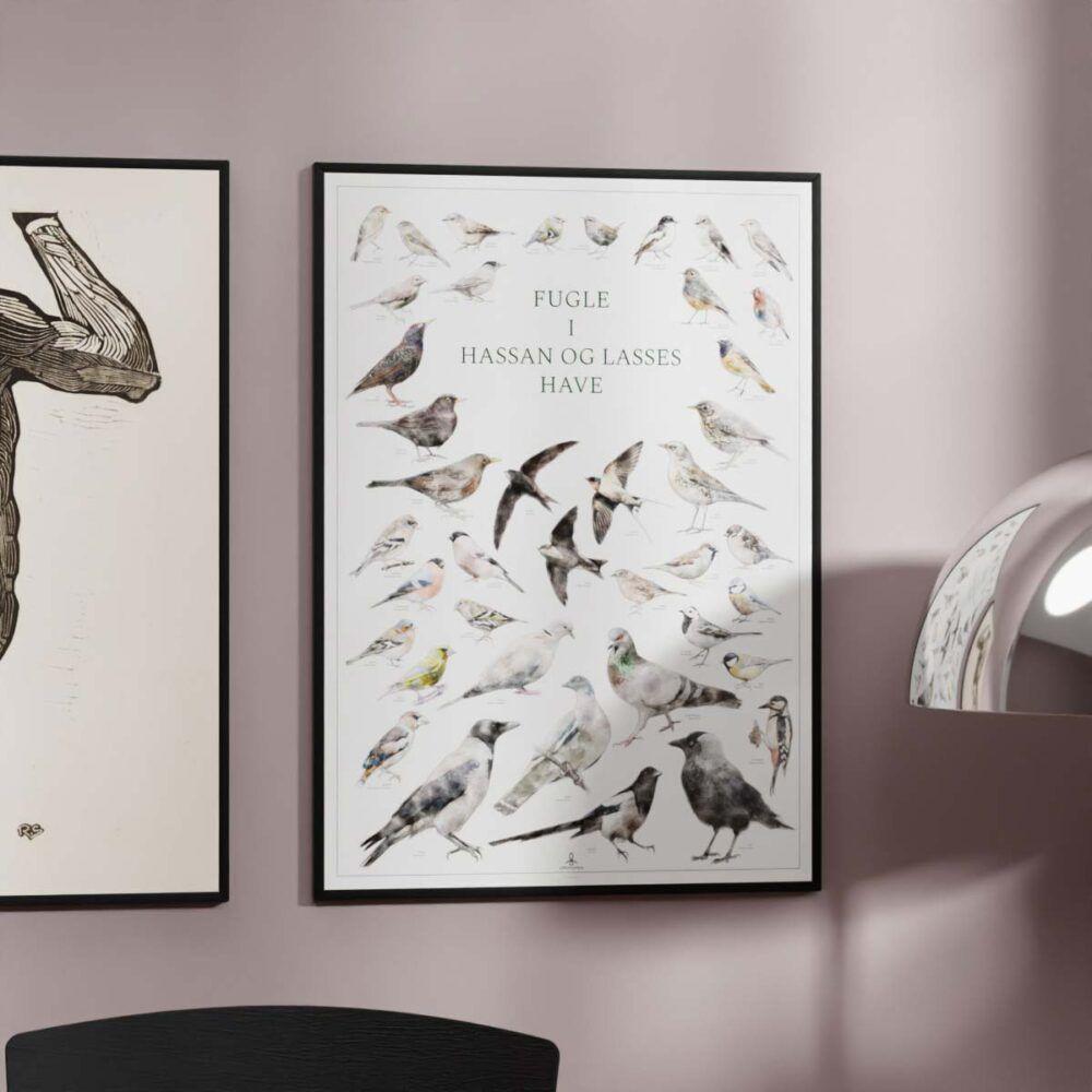 Fugleplakat med personlig tekst - Din egen tekst på en plakat med fugle i haven