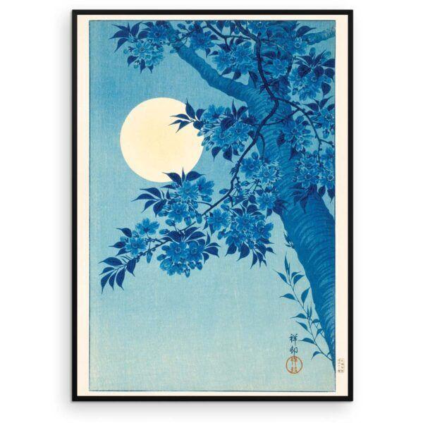 Sakura Kirsebærblomster i måneskin - Ohara Koson træsnit 1932 - Aruhana
