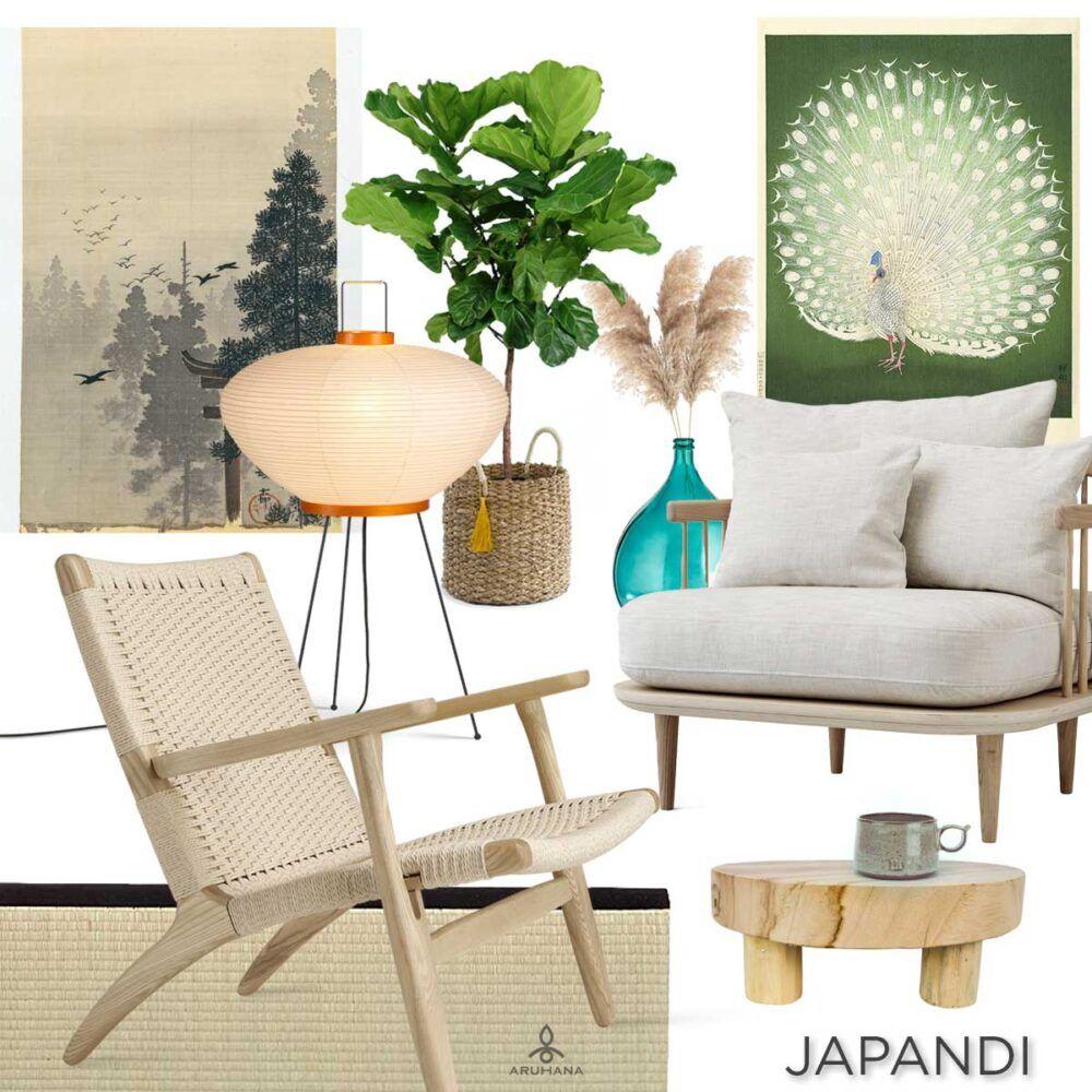 Møbler i lyst træ, fletværk og siv, papirlamper, store grønne planter, japanske træsnit og få, men gode keramikfund er med til at skabe den rette japandi-stemning.