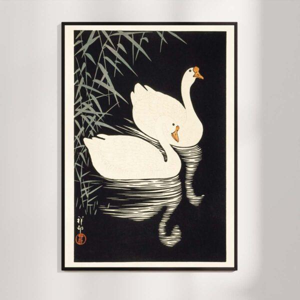 Hvide svane-gæs og siv - Ohara Koson træsnit 1928