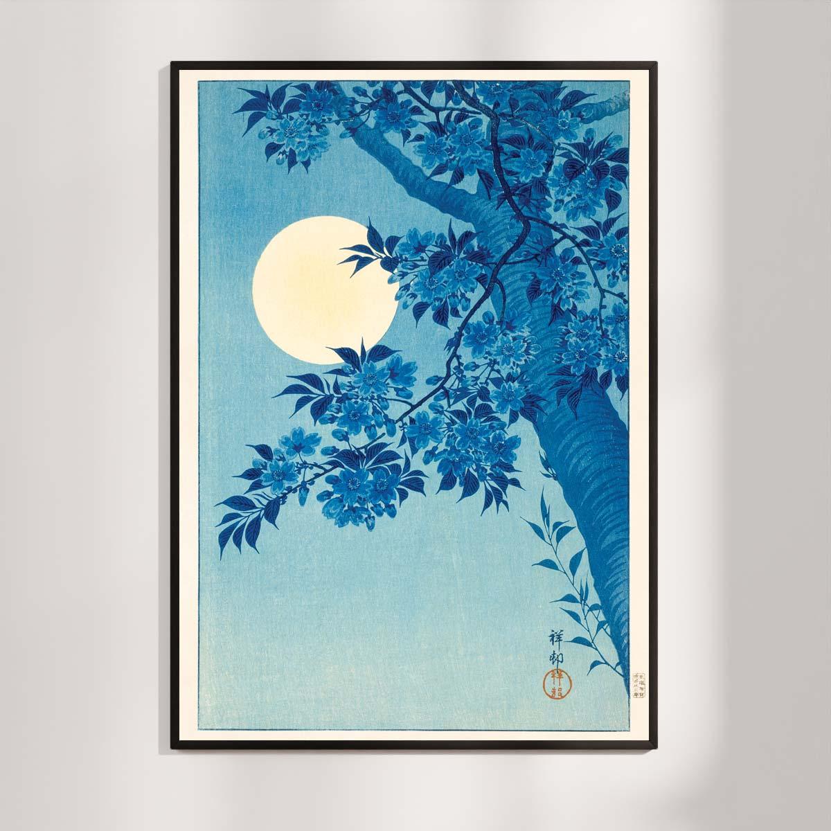 Plakat- Sakura Kirsebærblomster i måneskin - Ohara Koson træsnit 1932