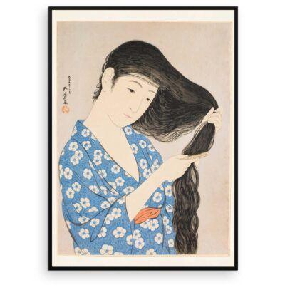 Plakat - Kvinde der reder sit hår - Japansk træsnit - Aruhana
