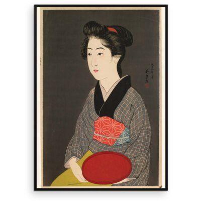 Kvinde med rød bakke - Japansk træsnit plakat - Aruhana