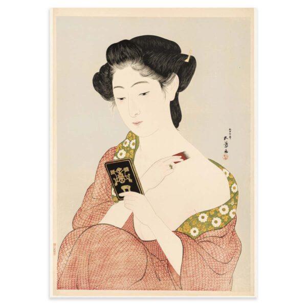 Plakat med kvinde der lægger pudder efter træsnit af Hashiguchi Goyō - 50x70cm