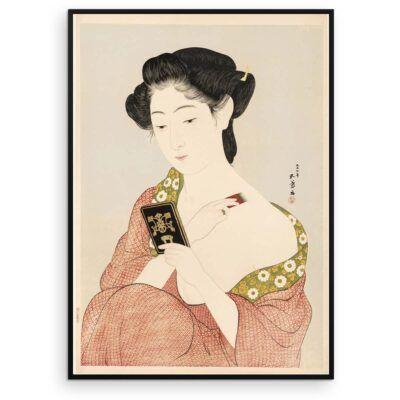 Plakat med kvinde der lægger pudder efter træsnit af Hashiguchi Goyō - Aruhana
