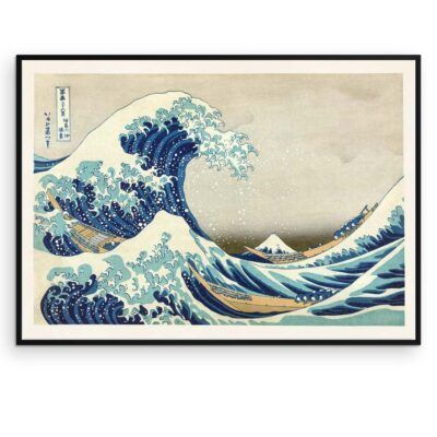 Den store bølge - Japansk Træsnit Plakat - Hokusai - Aruhana