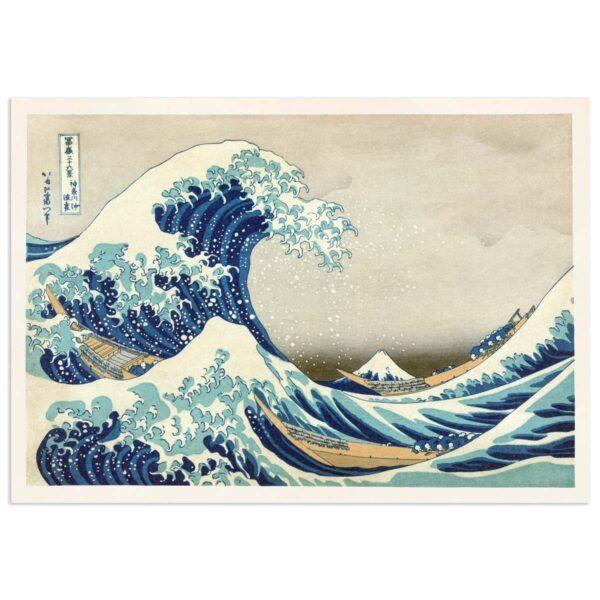 Den store bølge - Japansk Træsnit Plakat - Hokusai - 70x100cm