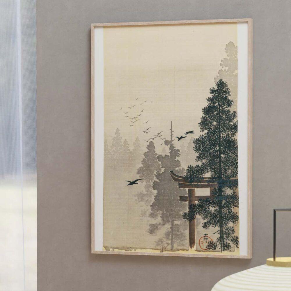 Fugleflok ved Shinto templet - Ohara Koson japansk træsnit plakat