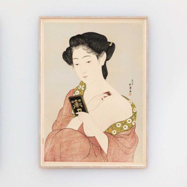 Plakat med kvinde der lægger pudder efter træsnit af Hashiguchi Goyō