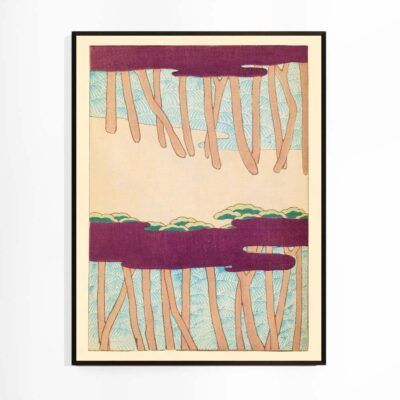 Mellem træerne - Shin Bijutsukai plakat af Watanabe Seitei -Aruhana