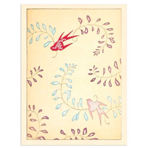 Fugle og Ranker - Shin Bijutsukai plakat 30x40cm