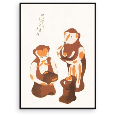Japansk Plakat - Familien Abe - Japanese Folk Toy plakat - Aruhana