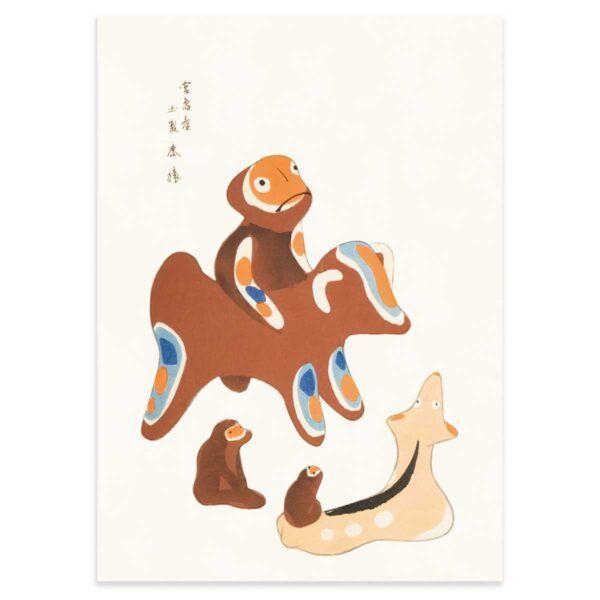 Japansk Plakat - Abe venner - Japanese Folk Toy plakat - 50x70cm