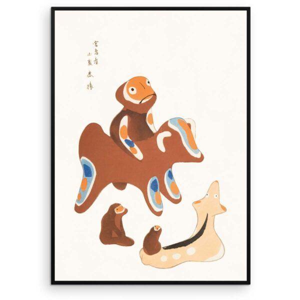 Japansk Plakat - Abe venner - Japanese Folk Toy plakat - Aruhana