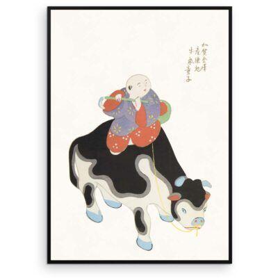 Japansk Plakat - Okse-ridder - Japanese Folk Toy plakat - Aruhana